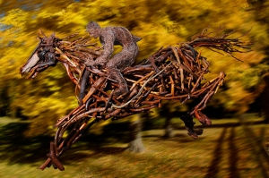 Rita Dee makes her horses out of driftwood collected from the Hudson River.