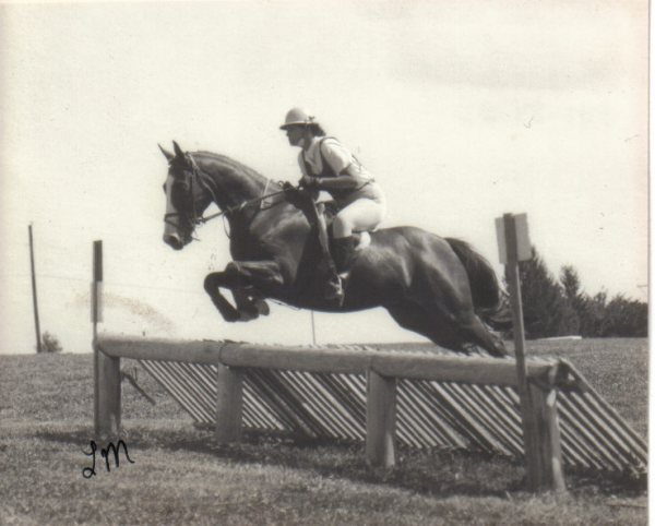 "This was my very first cross country course. Don't you love that ""approved"" helmet! You can't tell from the photo but it was bright blue."