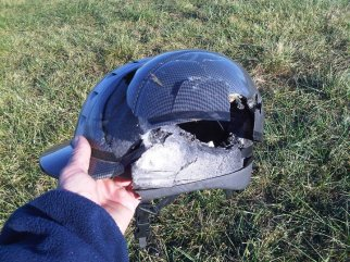 Equestrian helmet after a bad fall