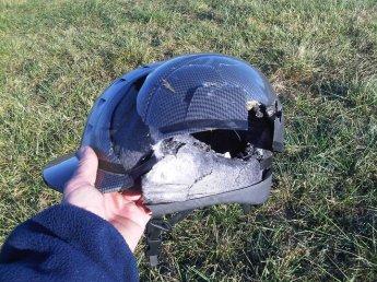Crushed equestrian helmet