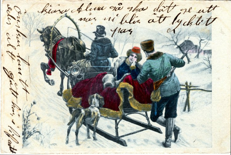 A Winter Carriage Ride. Antique postcard from the early 1900s