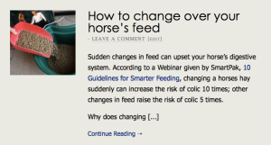 How to change over your horse's feed