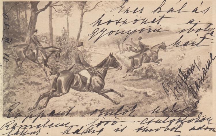 Antique postcard hunting scene