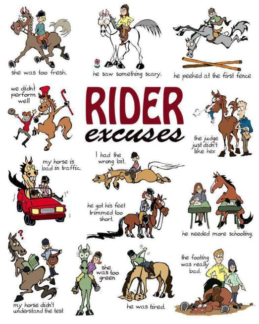 Rider excuses