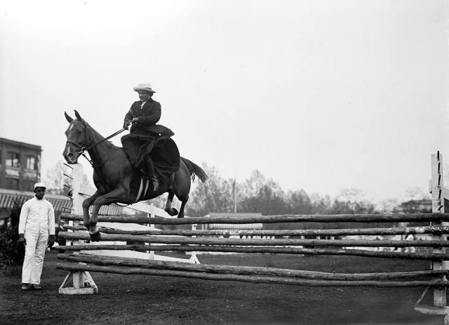 Mrs. Gertrude Rives Potts riding sidesaddle