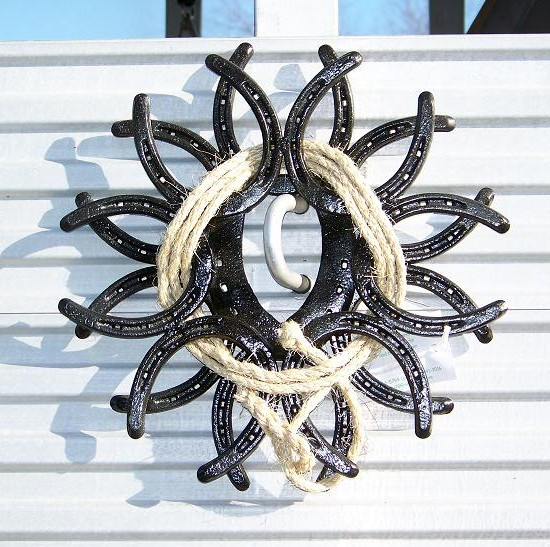 This horse shoe wreath with rope is available from Patty's Workshop for $25.