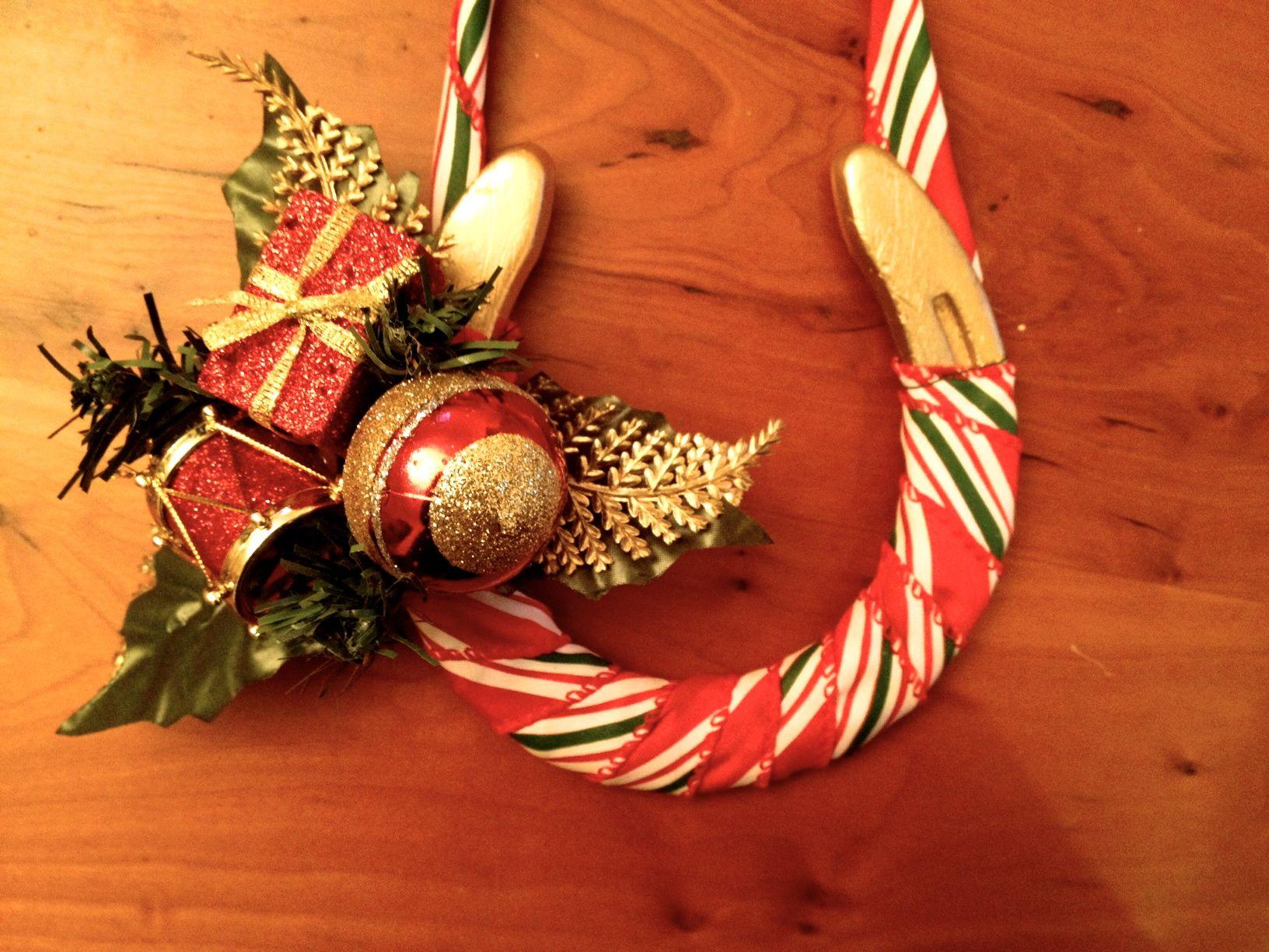 decorated horseshoe - Horseshoe Christmas Wreath