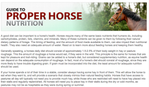This Guide to Proper Horse Nutrition is published on Stateline Tack.