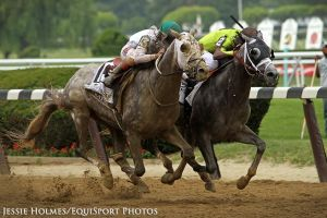Creator qne jockey Irad Ortiz Jr. won the Belmont Stakes by a nose, edging out Destin.