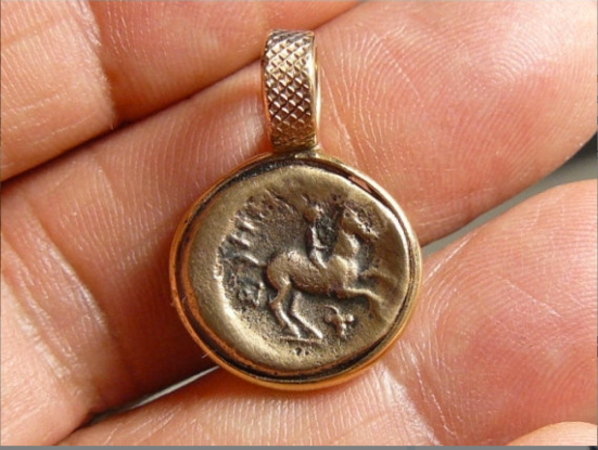 Ancient coin pendant