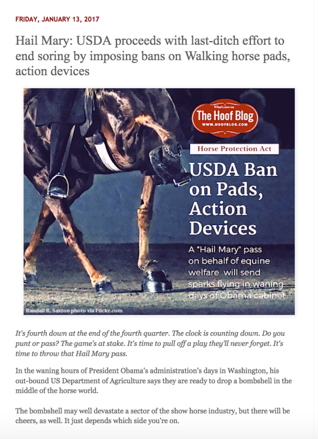Fran Jurga reports in her Hoof Blog that the USDA has taken action to restrict the use of Pads and Action Devices.