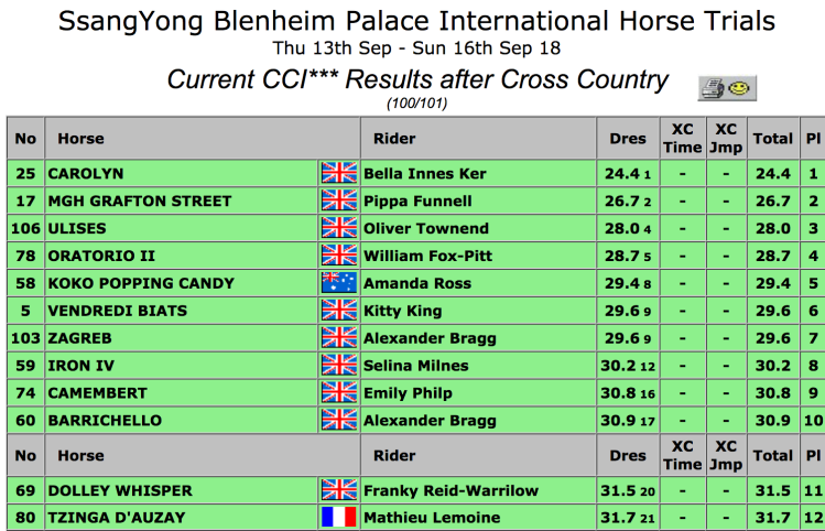 Top 12 at Blenheim after XC