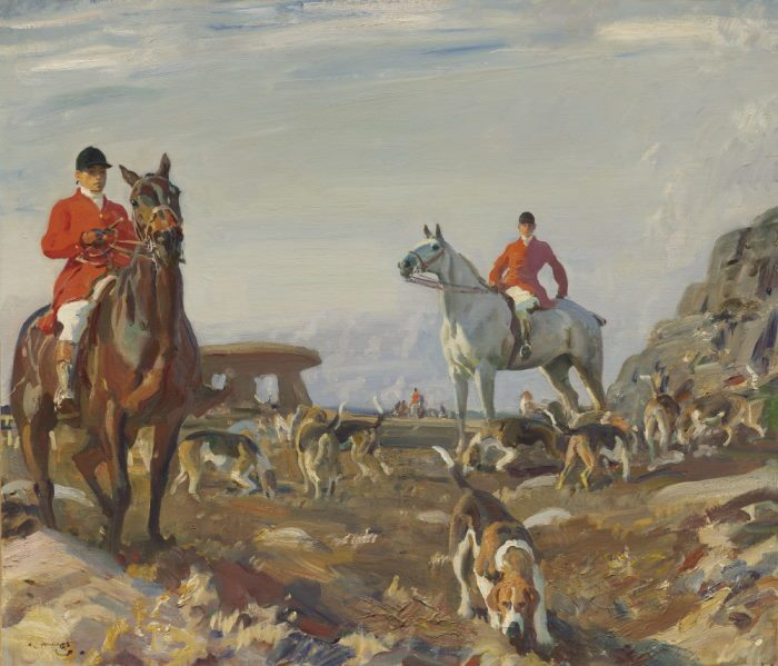Huntsmen with hounds, Zennor Hill, Cornwall
