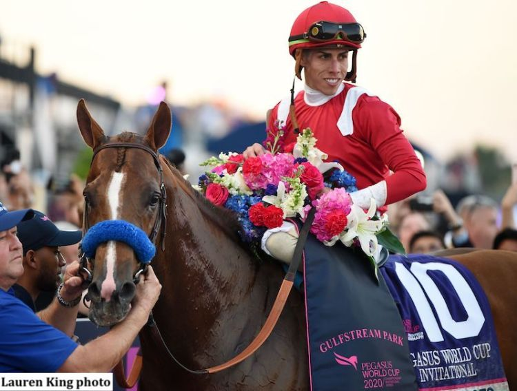 Mucho Gusto and Irad Ortiz Jr., in the Gulfstream Park winner's circle after the Pegasus World Cup